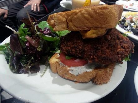 champs diner nyc brooklyn vegan meserole street country fried seitan sandwich